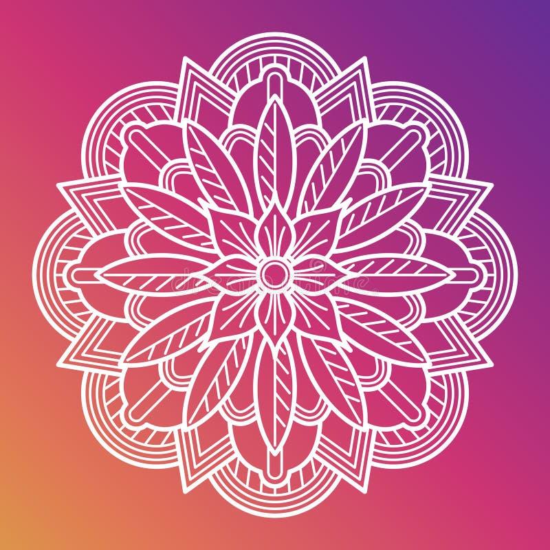 Mandala för vit blomma Orientalisk asiatisk arabisk dekorativ beståndsdel stock illustrationer