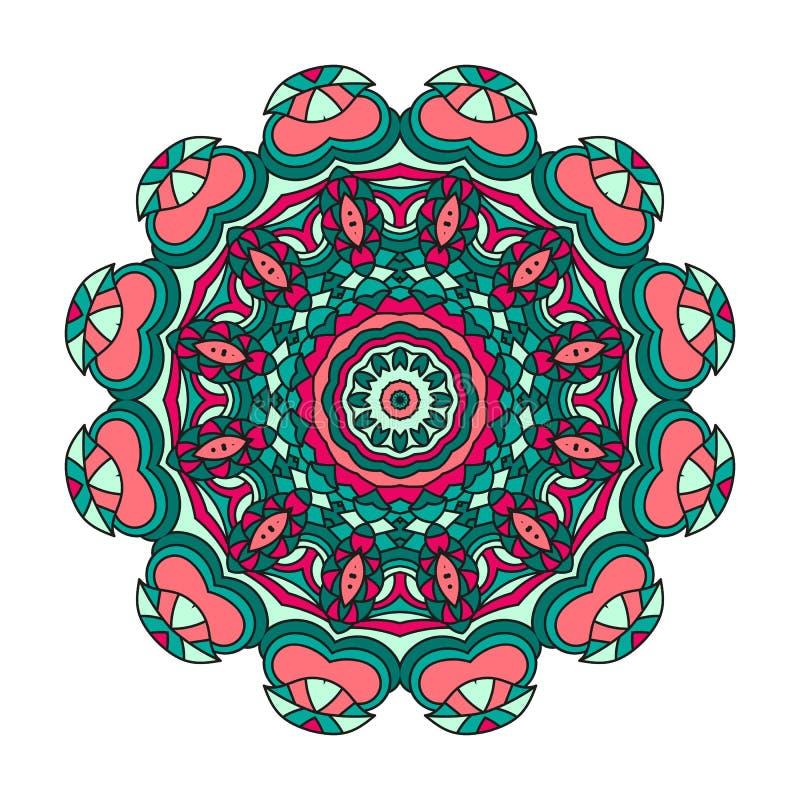 Mandala für Kunst, Erwachsenen und Kindermalbuch, zendoodle Die Hand, die ringsum zentangle gezeichnet wird, kann verwendetes Kre stock abbildung