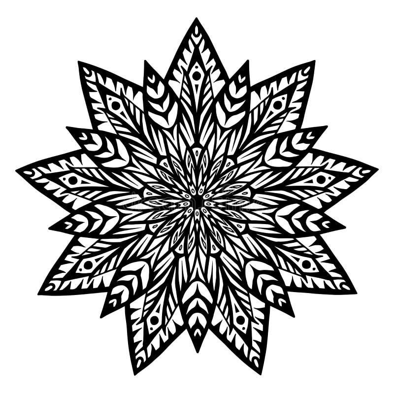 Mandala für Malbuch Ungewöhnliche Blumenform Dekorative runde Verzierungen, Anti-Drucktherapiemuster Webartdesign stock abbildung