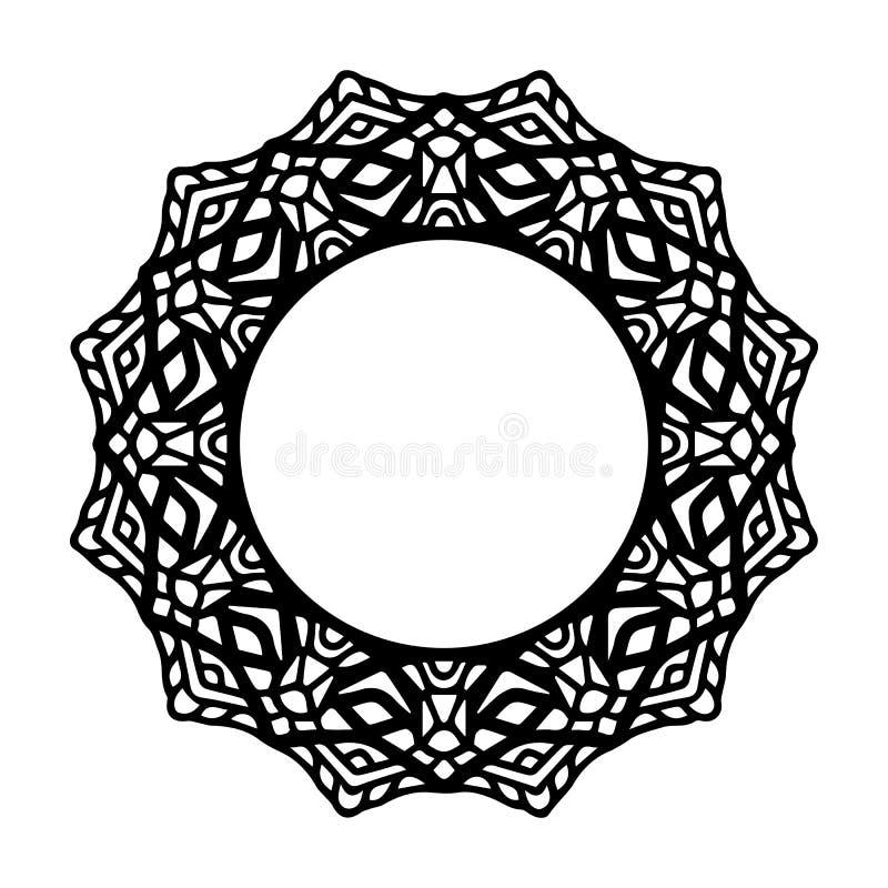 Mandala f?r henna, Mehndi, tatuering, garnering Dekorativ ramprydnad i etnisk orientalisk stil Sida f?r f?rgl?ggningbok vektor illustrationer