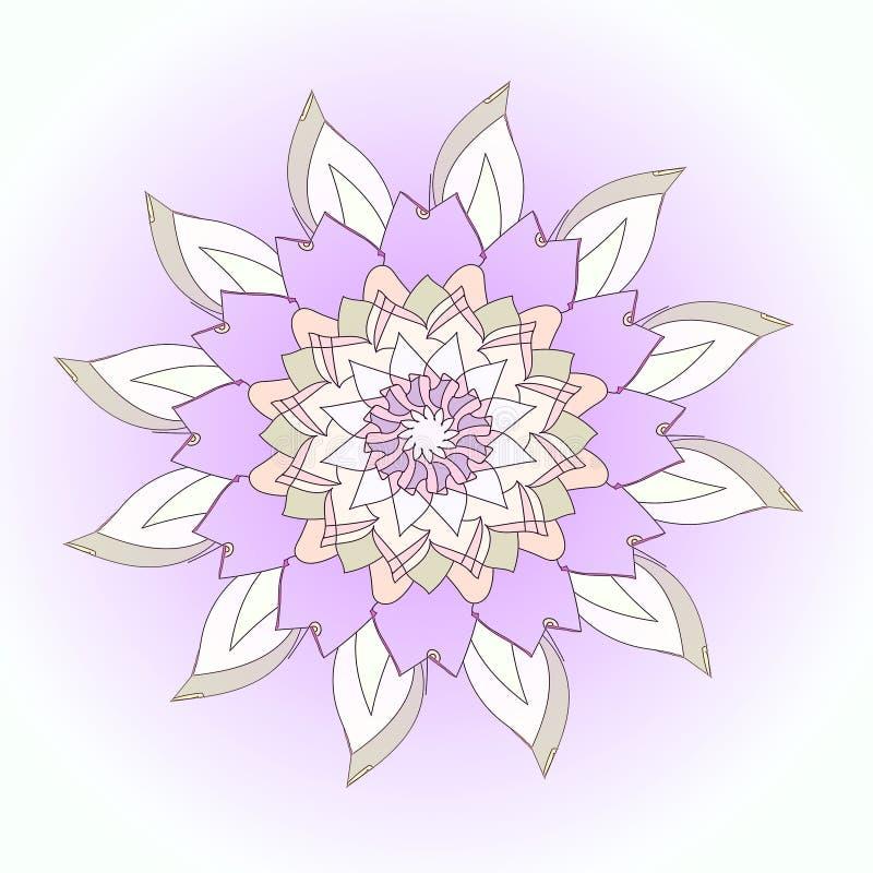Mandala f?r Lotus blomma VANLIG PURPURFÄRGAD BAKGRUND CENTRAL BLOMMA I VITT, PURPURFÄRGAT OCH GRÅTT royaltyfri foto
