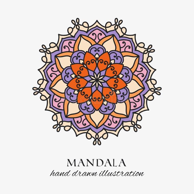 Mandala farbige Blumenverzierung der orientalischen Runde Bunte Vektorhandgezogene Dekoration vektor abbildung