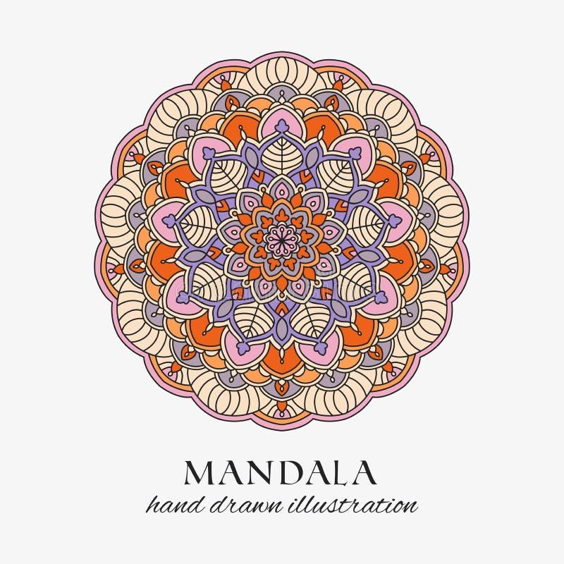 Mandala farbige Blumenverzierung der orientalischen Runde Bunte Vektorhandgezogene Dekoration stock abbildung