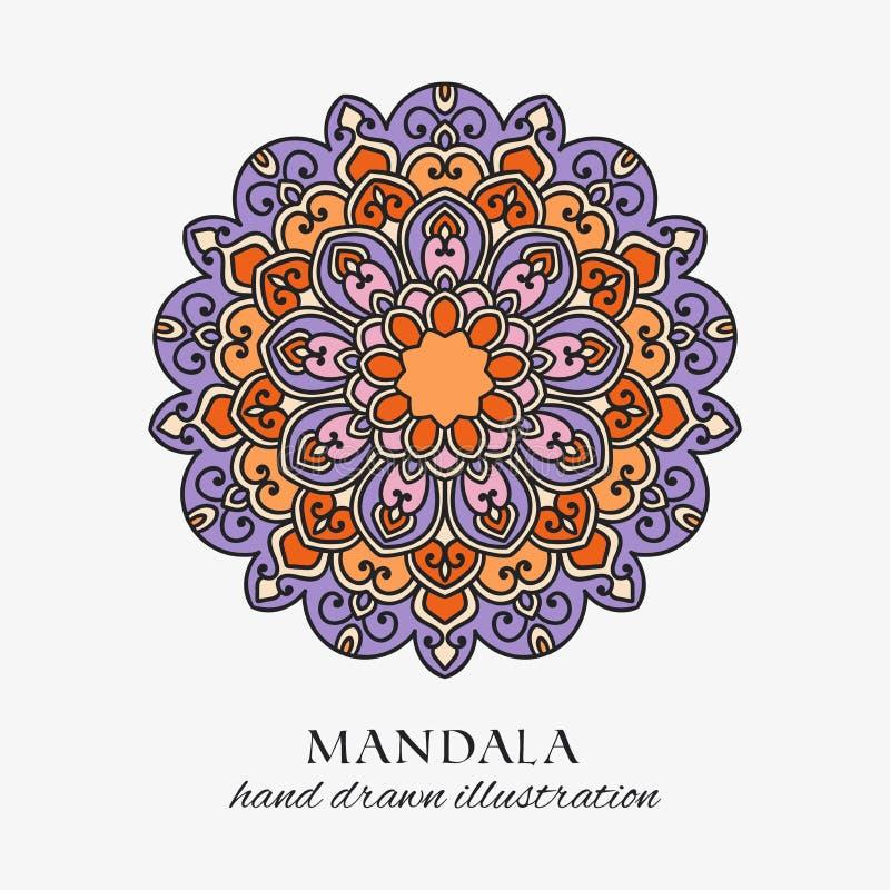 Mandala farbige Blumenverzierung der orientalischen Runde Bunte Vektorhandgezogene Dekoration lizenzfreie abbildung