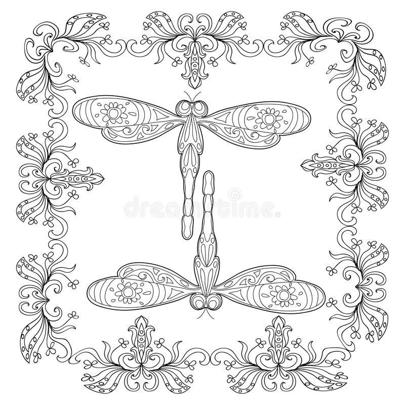 Mandala-Farbtonseite Der Libelle Abstrakte Stock Abbildung ...