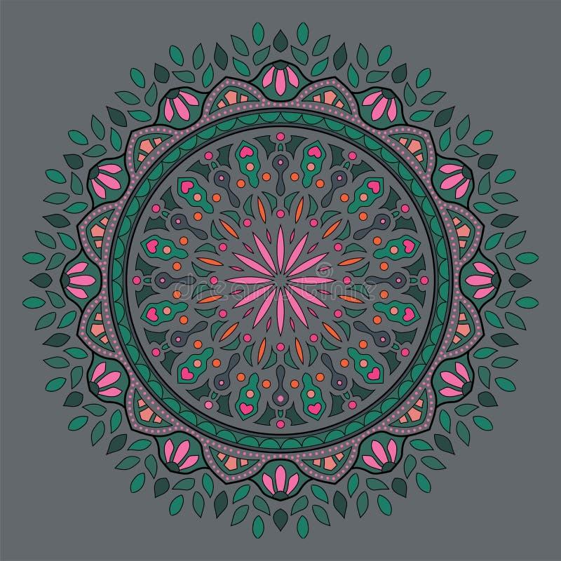 Mandala feuillu indien coloré image libre de droits