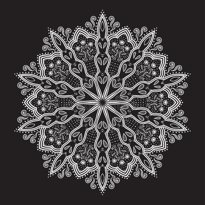 Mandala. Flor desenhado à mão bonita. ilustração stock
