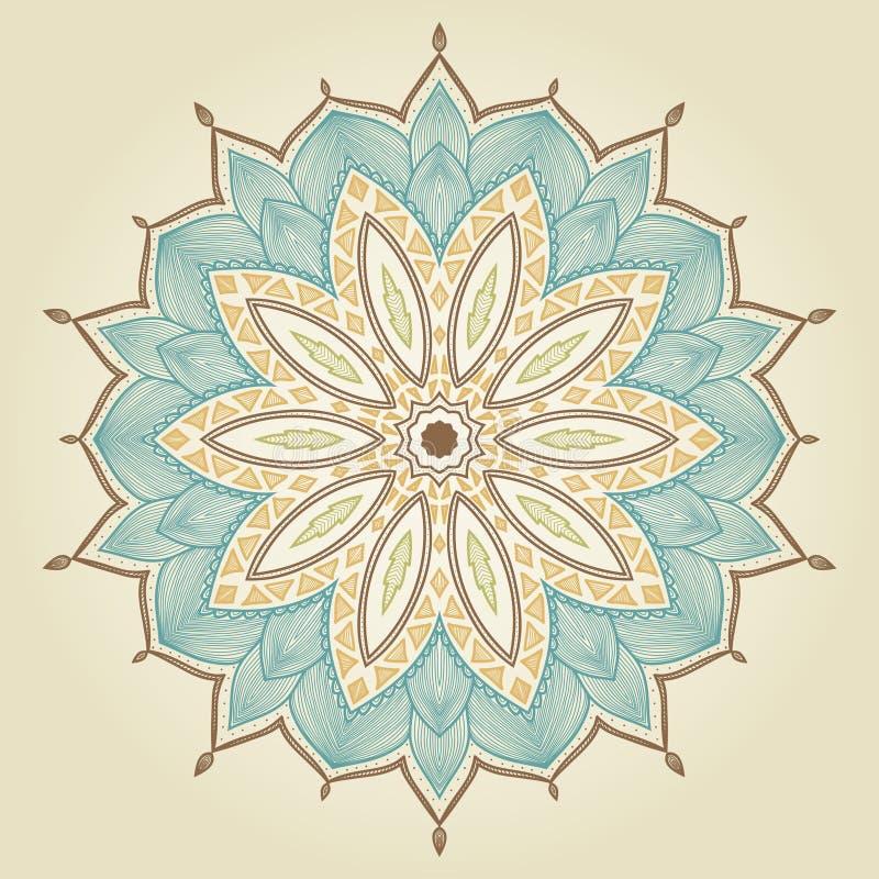 Mandala. Flor dibujada mano hermosa. stock de ilustración