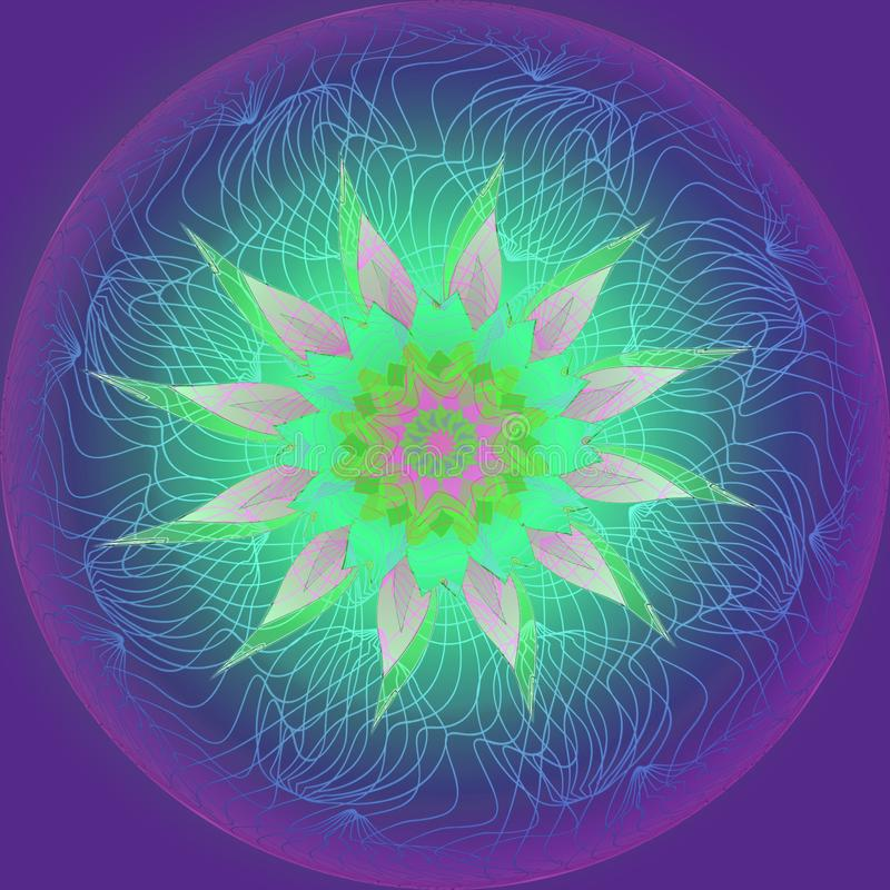 MANDALA FLOWER. PLAIN VIOLET BACKGROUND. CENTRAL LINEAR IMAGE IN BLUE, PURPLE AND LIGHT BLUE, FLOWER IN GREEN, AQUAMARINE AND PINK. COLORFUL IMAGE. VINTAGE STYLE royalty free illustration