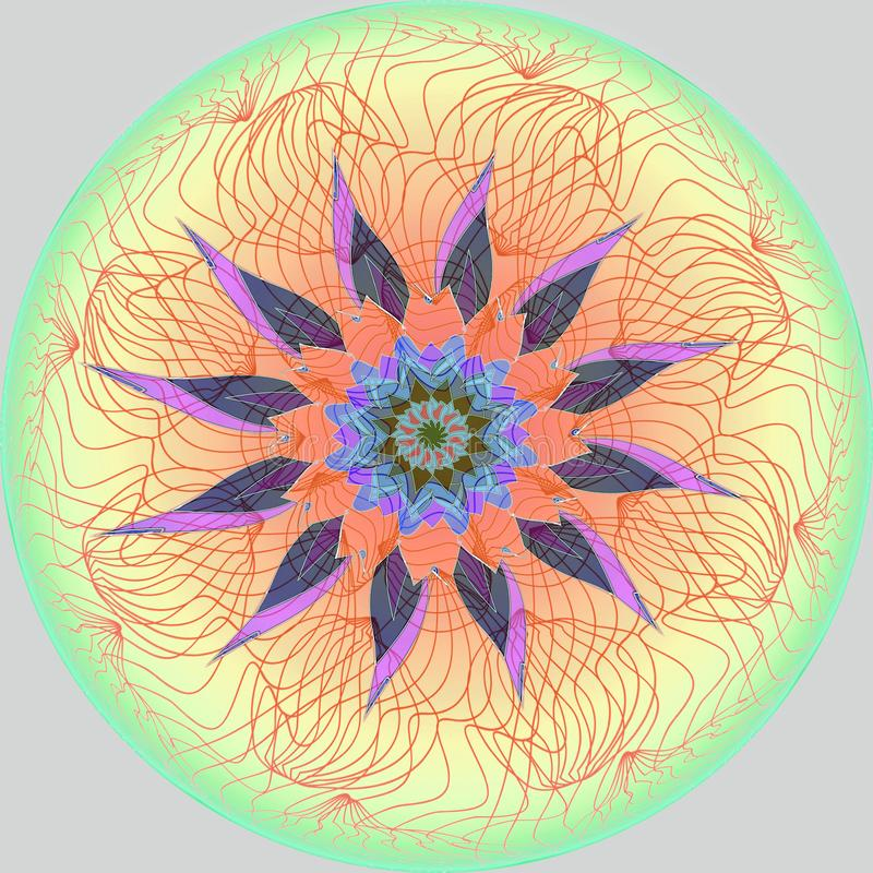 FLOWER MANDALA. PLAIN GRAY BACKGROUND. CENTRAL FLOWER IN PURPLE, ORANGE, BLUE, BROWN. LINEAR CENTRAL DESIGN IN YELLOW, RED, GREEN. COLORFUL IMAGE. FLOWER MANDALA vector illustration