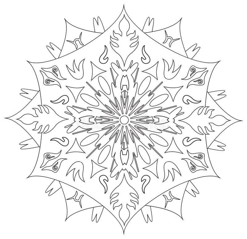 Mandala - flor, natureza, símbolo do círculo da energia em preto e branco ilustração do vetor