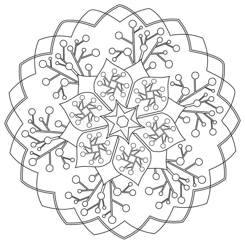 Mandala - flor, natureza, símbolo do círculo da energia em preto e branco ilustração stock