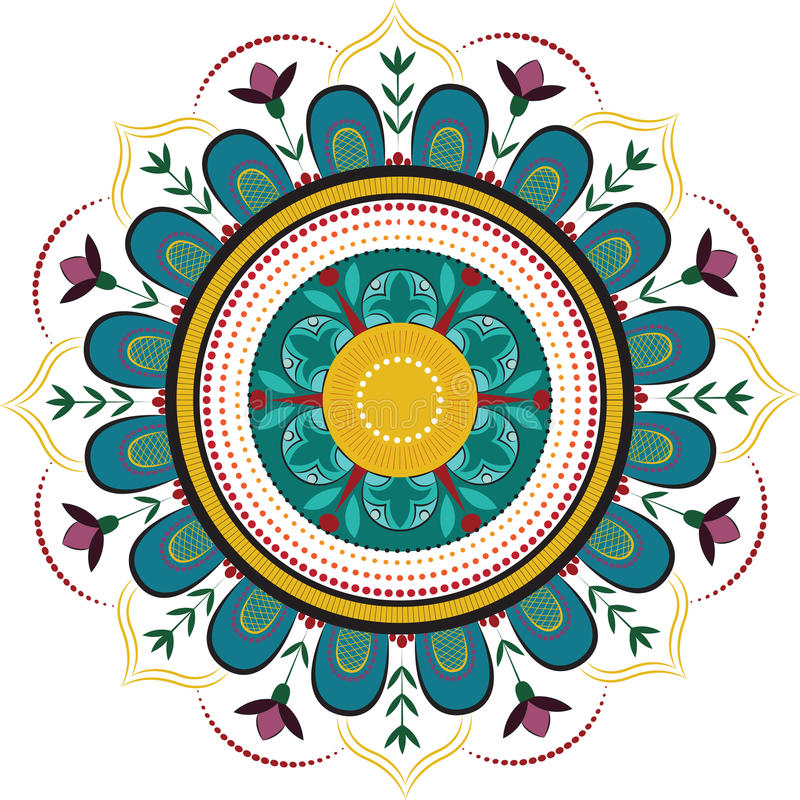 Mandala floral coloreada libre illustration