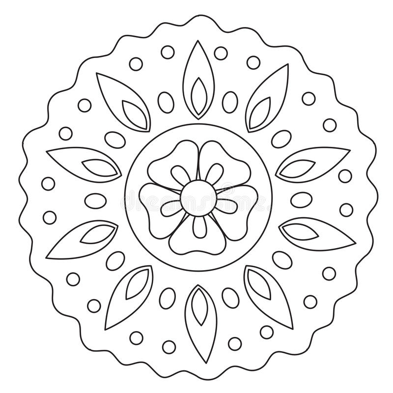 Mandala floral de coloration de vague illustration stock