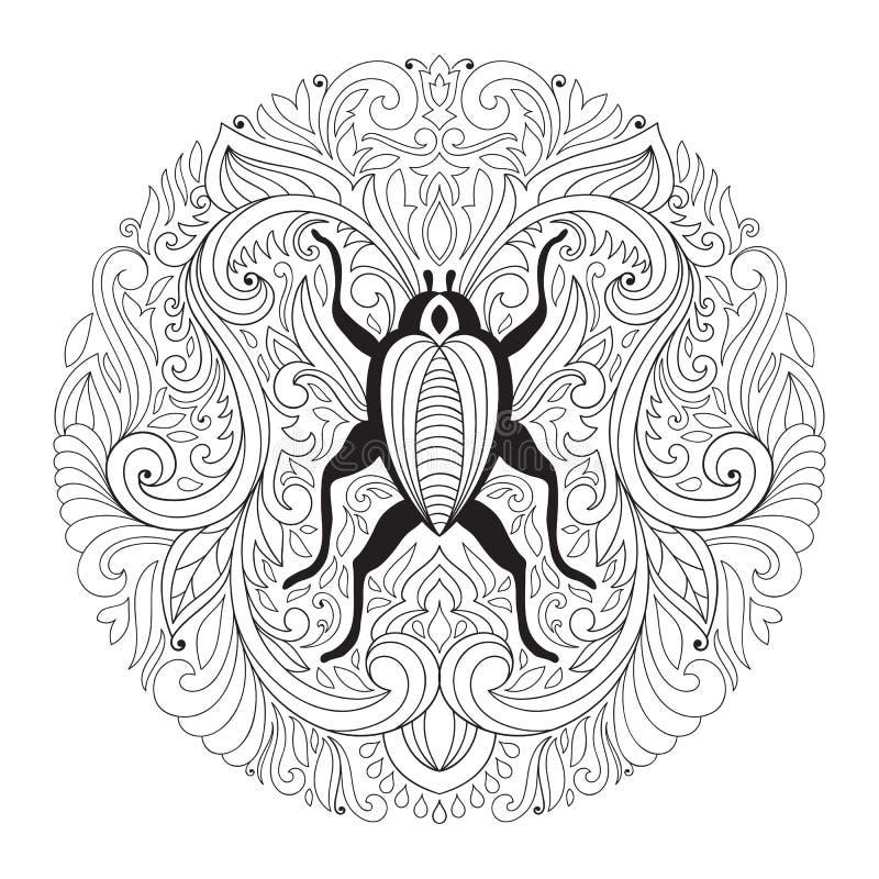 Mandala floral de vecteur avec l'insecte illustration stock