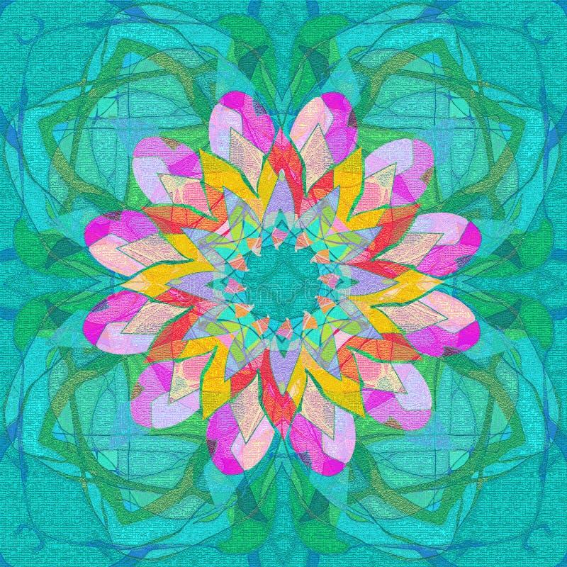 Mandala floral Dise?o linear ESTILO DE TIFFANY abstraiga el fondo FLOR CENTRAL EN FUCSIA, AMARILLO, ROSADO, PÚRPURA, TURQUESA libre illustration