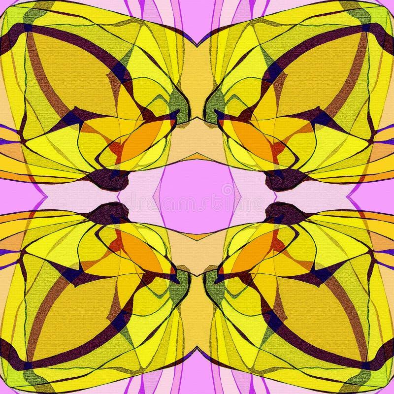 Mandala floral Estilo de la vendimia PLATAFORMA COLORIDA EN AMARILLO, PÚRPURA, NEGRO Y BROWN stock de ilustración