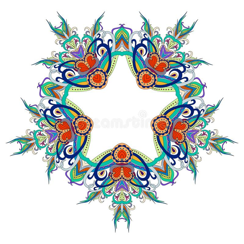 Mandala, floral, fleur, mandala oriental, coloration et ethnique Modèle oriental, illustration de vecteur L'Islam, arabe illustration stock