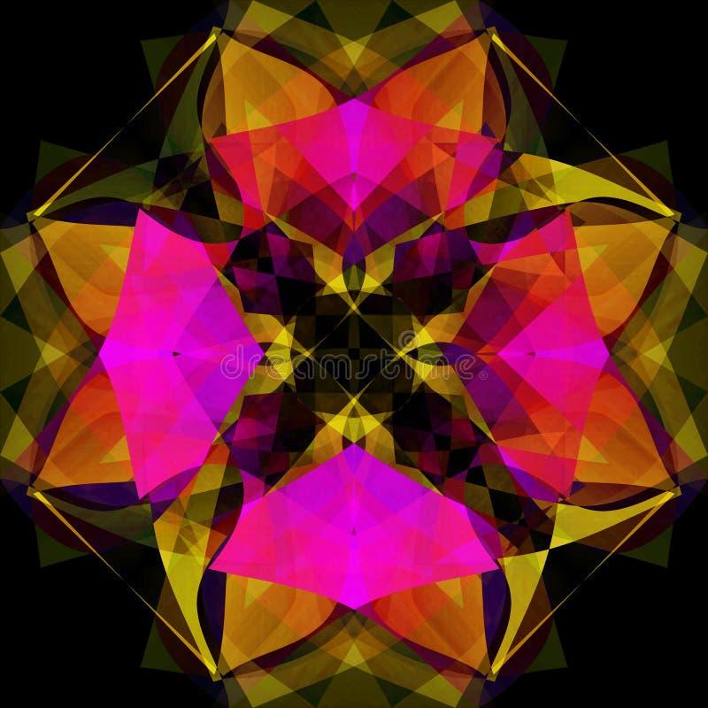 Mandala floral Fondo negro llano IMAGEN COLORIDA, EN FUCSIA, AMARILLO, ANARANJADO Y NEGRO foto de archivo libre de regalías
