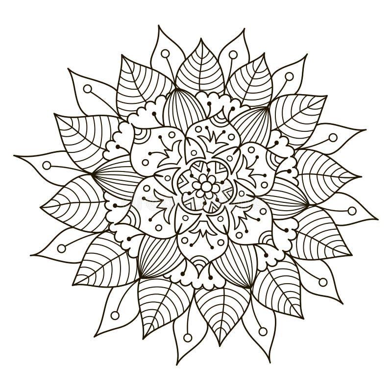 Mandala floral hermosa de Deco Modelo redondo del ornamento del vector stock de ilustración