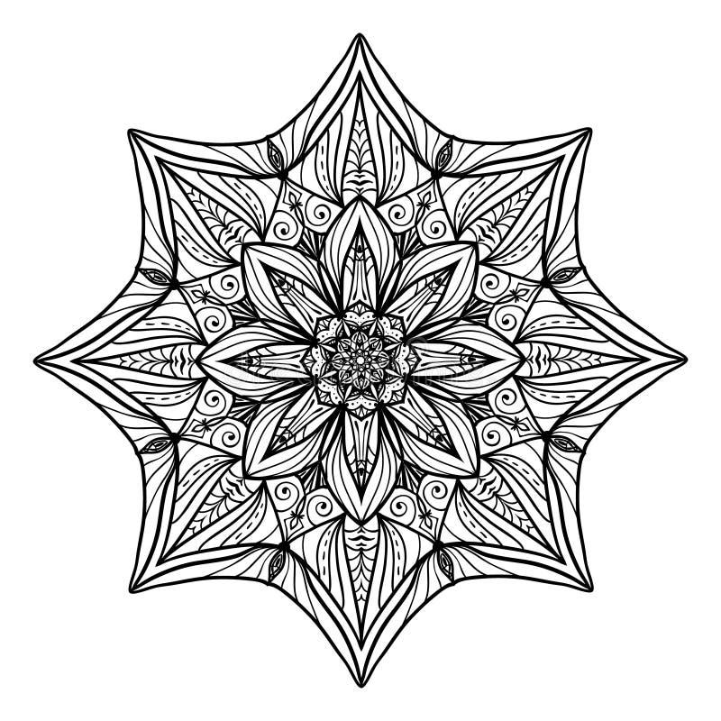 Mandala floral hermosa de Deco Modelo redondo del ornamento del vector Gran opción para la página adulta del colorante, ilustración del vector