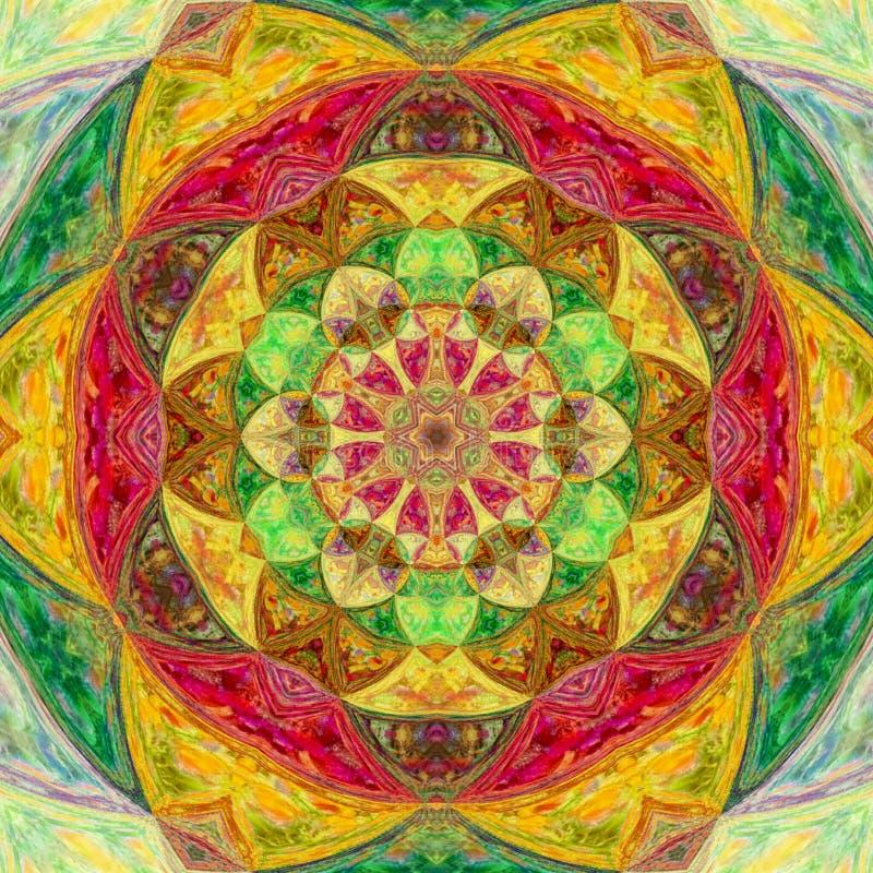 Mandala floral illustré lumineux coloré de tuile photo libre de droits