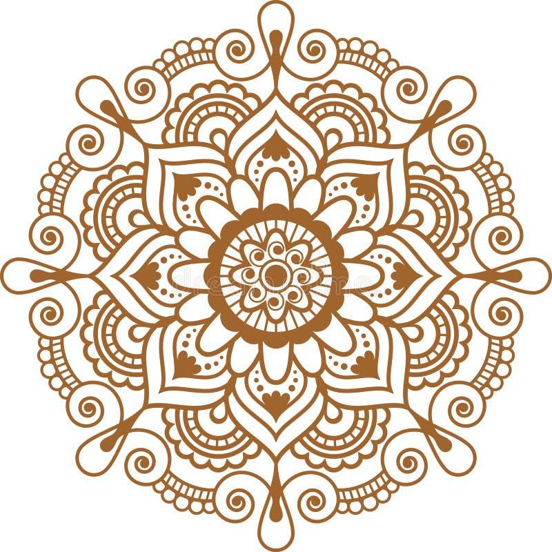 Mandala floral marrom indiana do elemento da hena de Mehndi para o tatoo ou o cartão ilustração royalty free