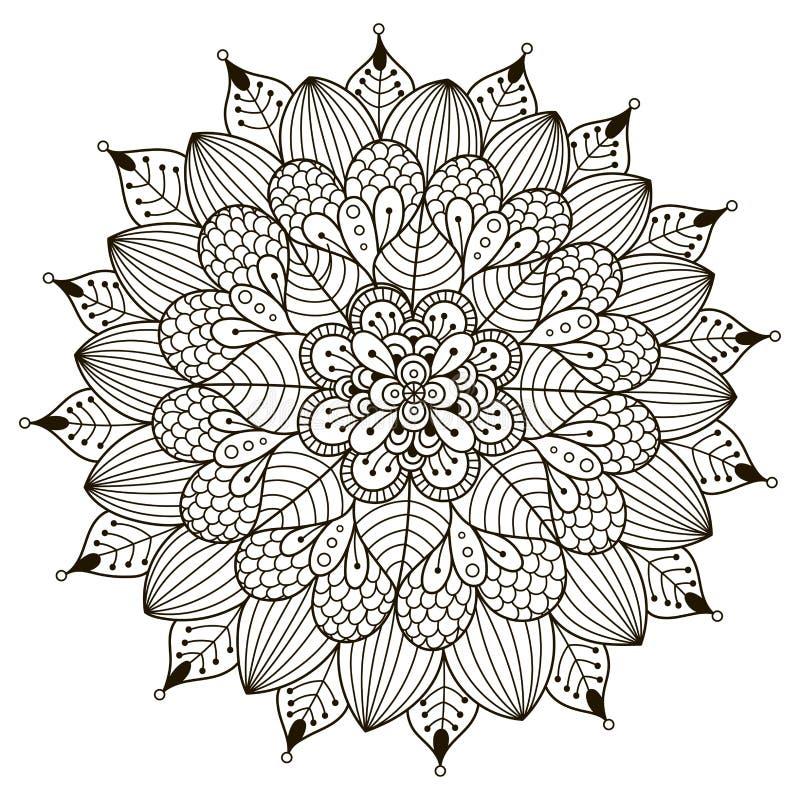 Mandala floral para el libro de colorear stock de ilustración