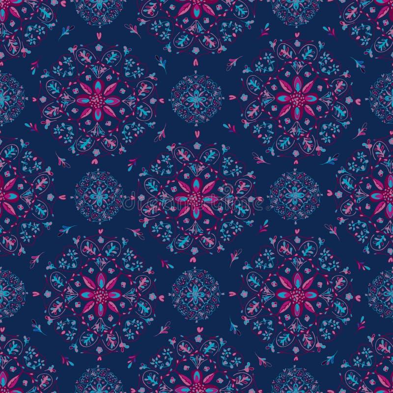 Mandala Floral Pattern bleue sur le fond bleu illustration stock