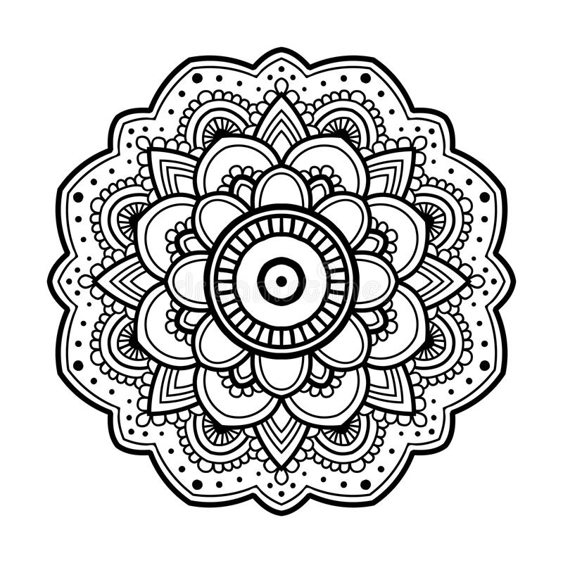 Mandala floral simple stock de ilustración