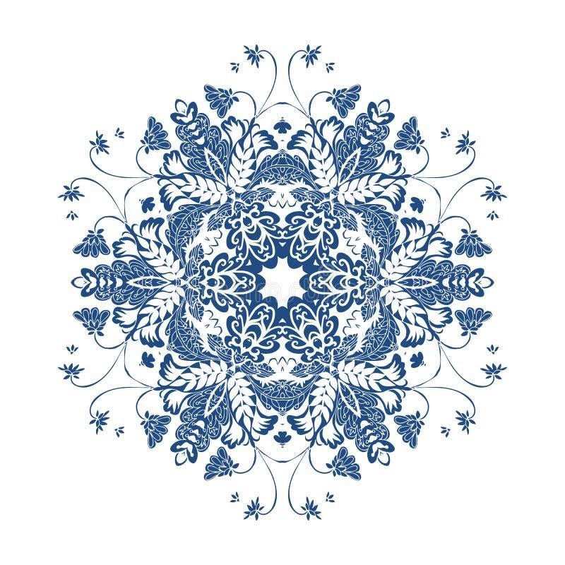 Mandala floral snowflake Teste padrão mágico ilustração stock