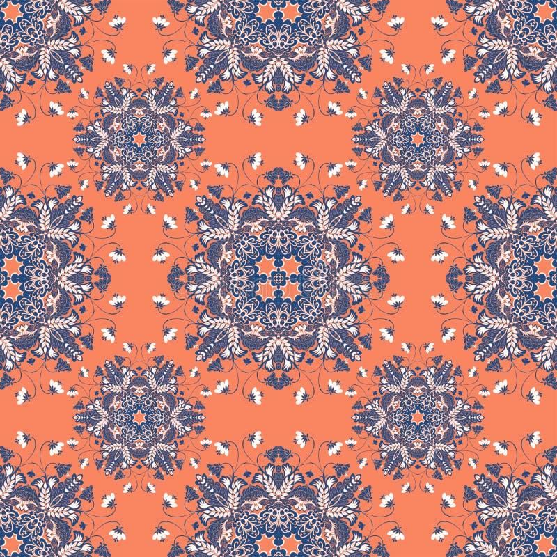 Mandala floral Teste padrão sem emenda com ornamento mágico Vetor ilustração stock