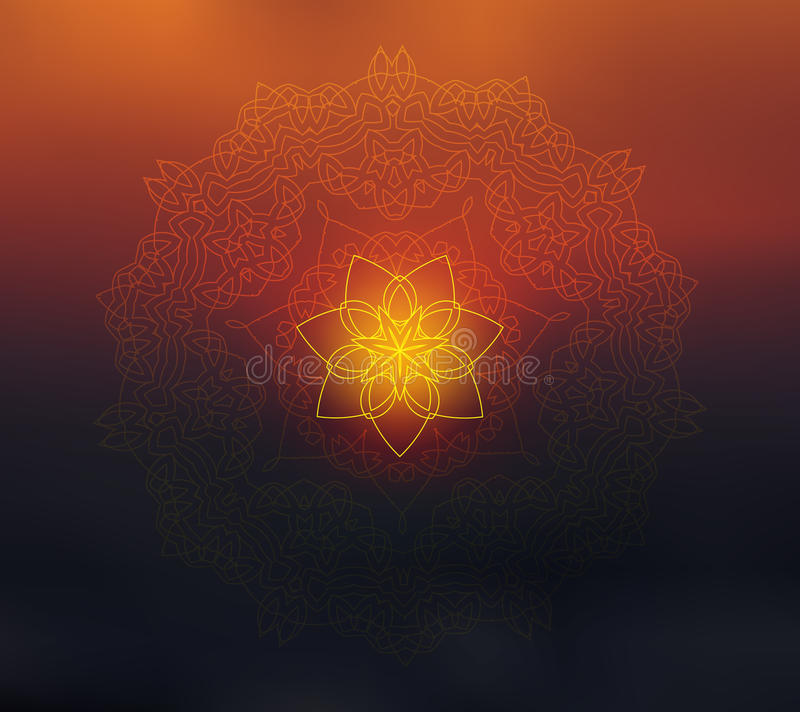 Mandala floreale brillante su fondo vago tramonto illustrazione vettoriale