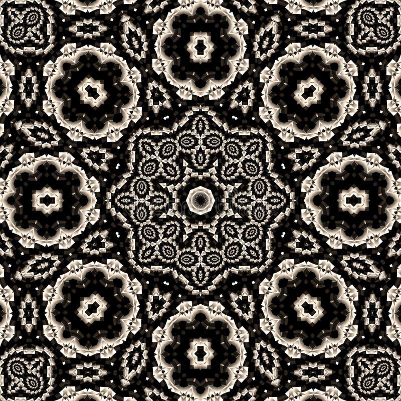 Mandala floreale di alto contrasto illustrazione vettoriale