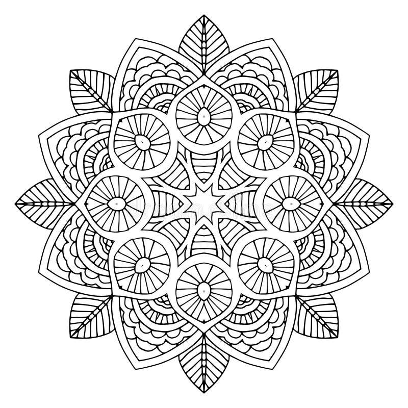 Mandala floreale nera illustrazione di stock