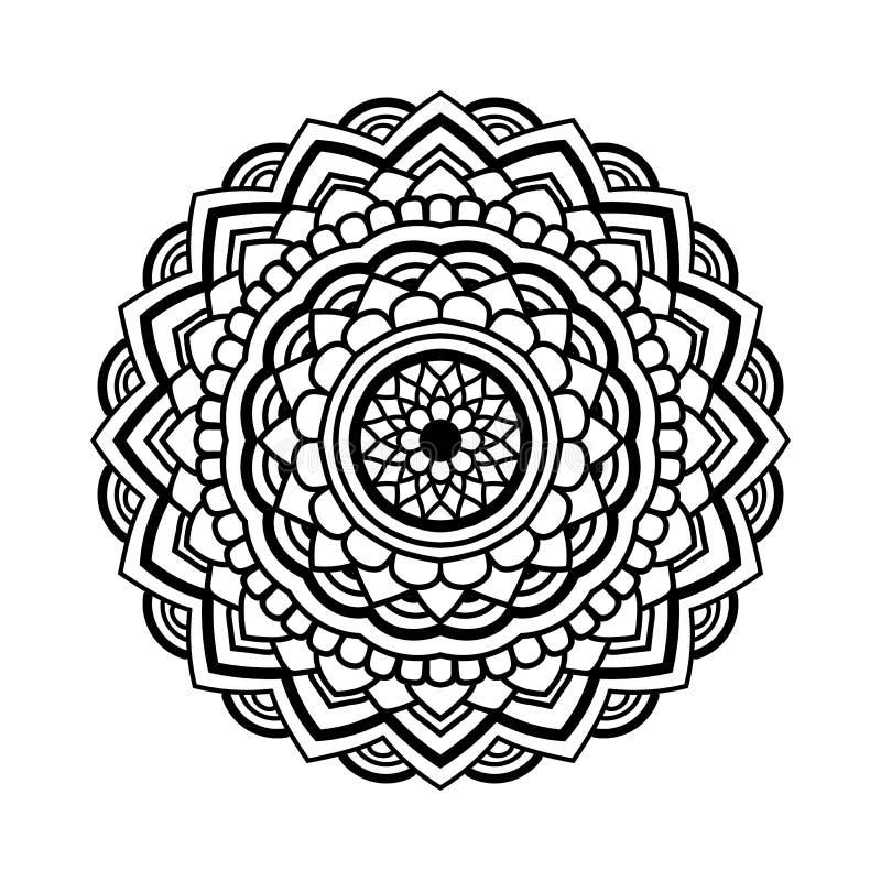 Mandala floreale nera illustrazione vettoriale