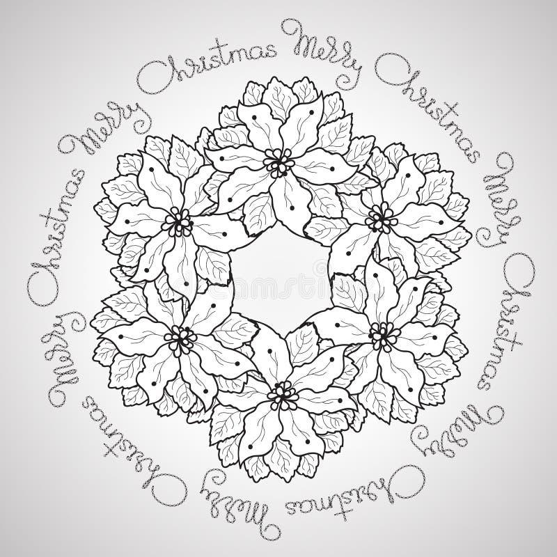 Mandala floreale ornamentale di Buon Natale disegnato a mano di vettore illustrazione vettoriale