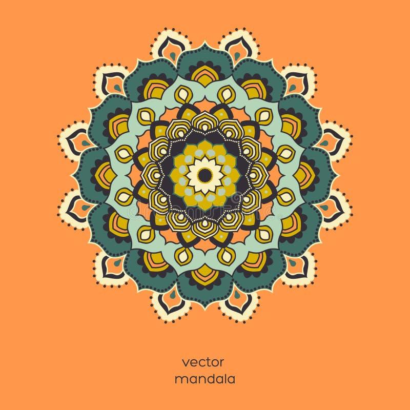 Mandala floreale variopinta ornamentale sul fondo arancio di colore royalty illustrazione gratis