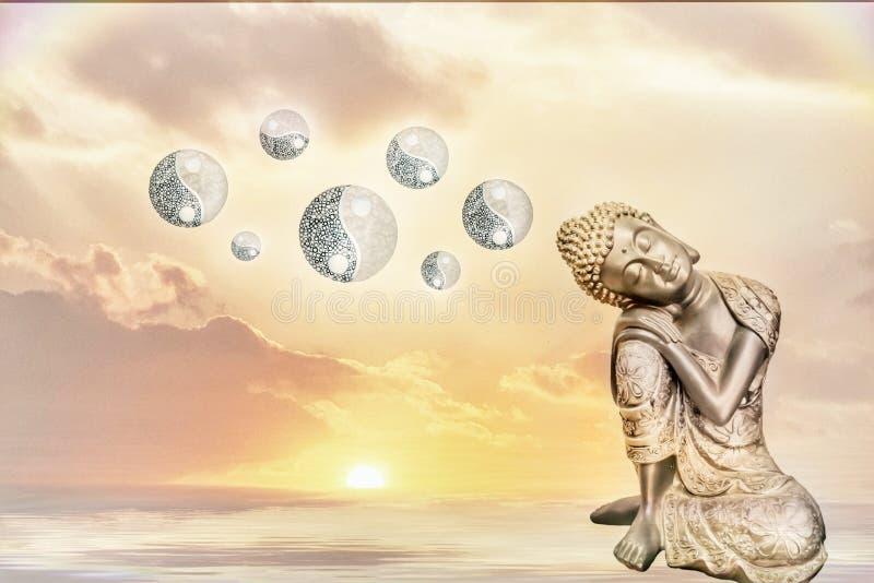 Mandala florescida com yin-Yang ilustração royalty free