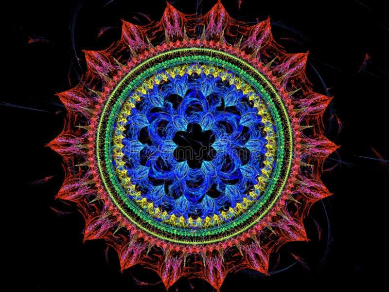 Mandala flower - abstract digitally generated image stock illustration