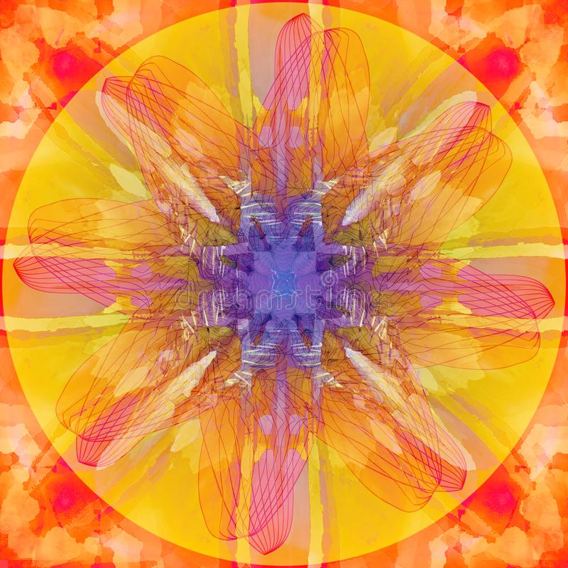 MANDALA FLOWER. ABSTRACT ORANGE BACKGROUND. CENTRAL FLOWER IN YELLOW, FUCHSIA AND PURPLE.  LINEAR CENTRAL DESIGN. VINTAGE IMAGE.ABSTRACT ORANGE BACKGROUND stock illustration