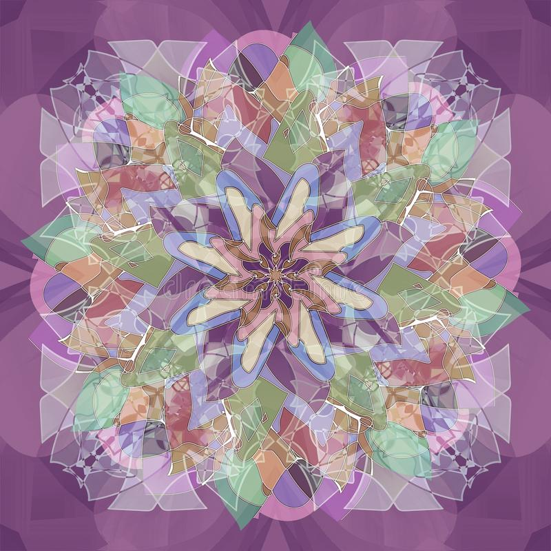 MANDALA FLOWER. ABSTRACT PURPLE BACKGROUND. CENTRAL DESIGN IN PINK, GREEN, BLUE, PURPLE AND WHITE . ART DECO STYLE royalty free stock photo