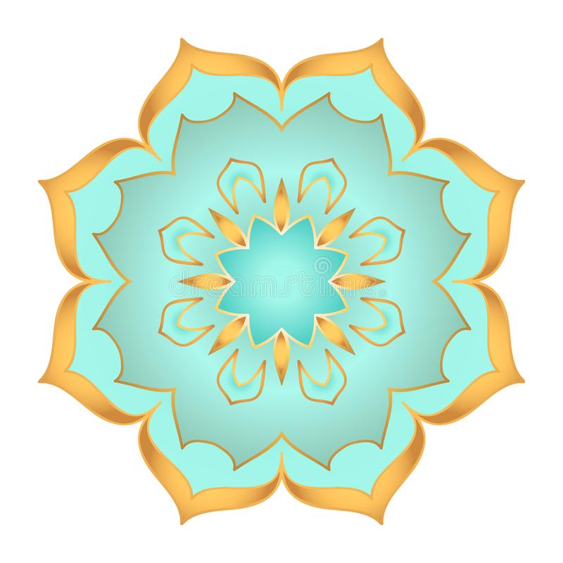 Mandala flower in beautiful gold and turquoise colors on white background royalty free illustration
