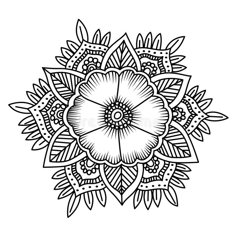 Mandala Flower Doodle Vector Illustration. Coloring Pages. Stock ...