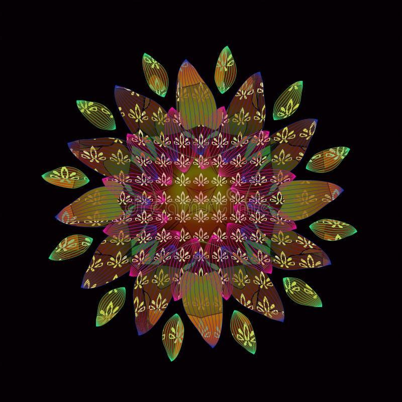 MANDALA FLOWER. PLAIN BLACK BACKGROUND. LINEAR DESIGN. TEXTURED IMAGE. CENTRAL FLOWER IN GREEN, YELLOW, ORANGE, BURGUNDY, BEIGE royalty free illustration