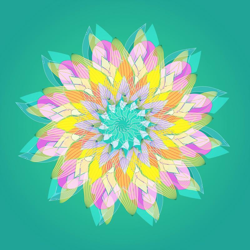 MANDALA FLOWER. PLAIN GREEN BACKGROUND. CENTRAL FLOWER IN PASTEL COLORS PALLET. GREEN, FUCHSIA, YELLOW, PURPLE,PINK. MANDALA FLOWER, VINTAGE STYLE.PLAIN GREEN royalty free stock images