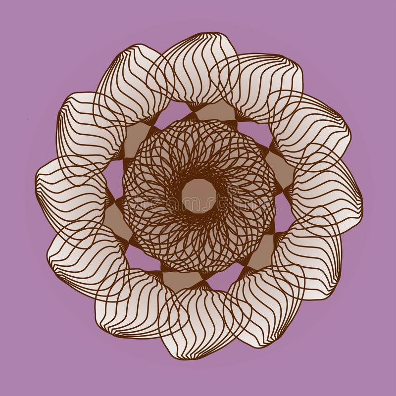 MANDALA FLOWER. PLAIN PURPLE BACKGROUND. TEXTURED CENTRAL DESIGN. FLOWER IN BROWN royalty free stock images