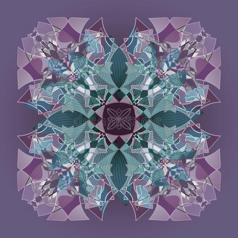 MANDALA FLOWER, TIFFANY STYLE. PLAIN PURPLE BACKGROUND. CENTRAL LINEAR DESIGN IN PURPLE, VIOLET, GREEN AND WHITE. MANDALA FLOWER, PLAIN PURPLE BACKGROUND royalty free stock photos