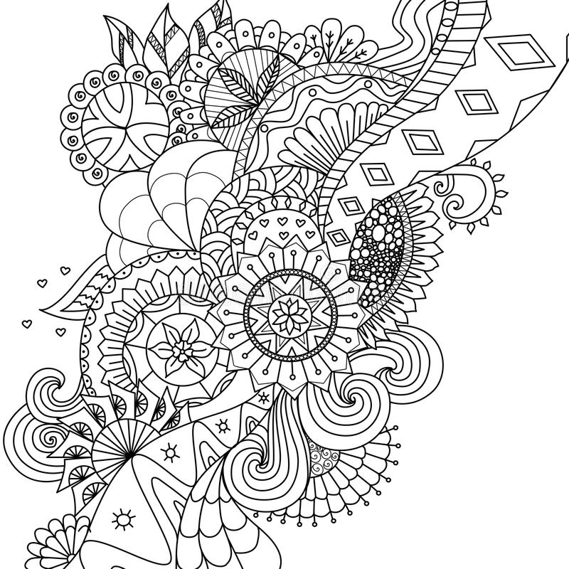 Download Mandala Flowers For Coloring Book Adults Or Background Stock Vector