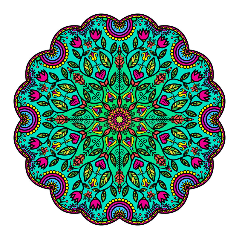 Mandala With Flowers And Insects illustration libre de droits